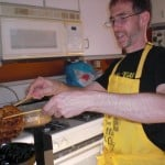 Dave making vegan waffles