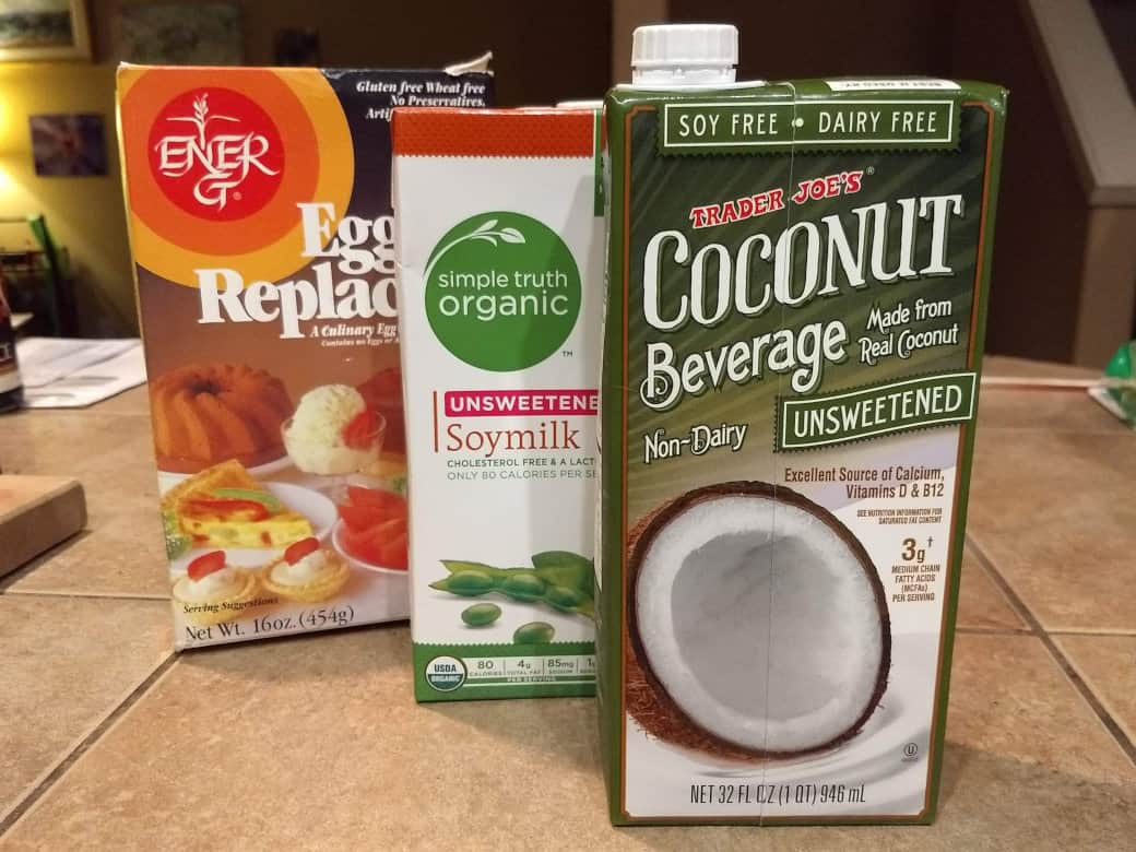 vegan milk and egg substitutes