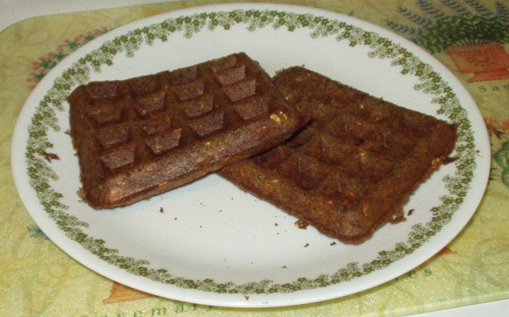 carrot ginger sage vegan waffles, square