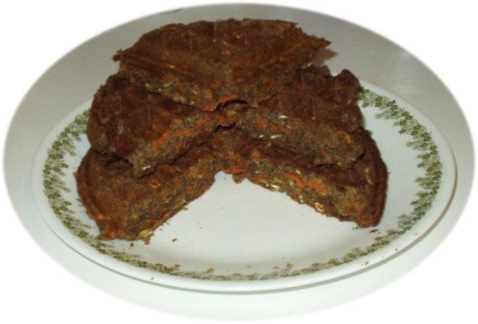 carrot ginger sage oat vegan waffles, round