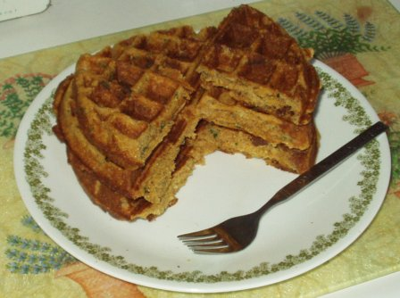 orange basil cornmeal vegan waffles