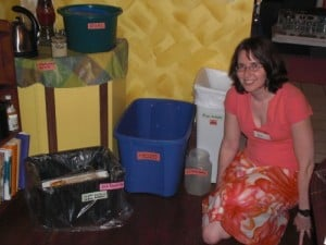 Jen with the state-of-the-art recycling system