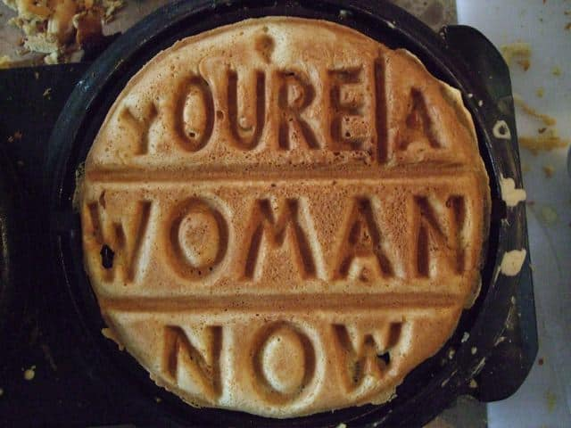 Vegan waffle from a custom-build iron