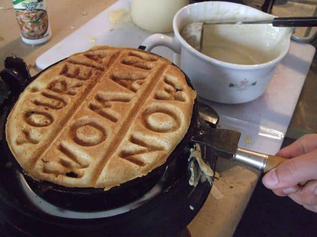 Vegan waffle from a custom-built iron 2
