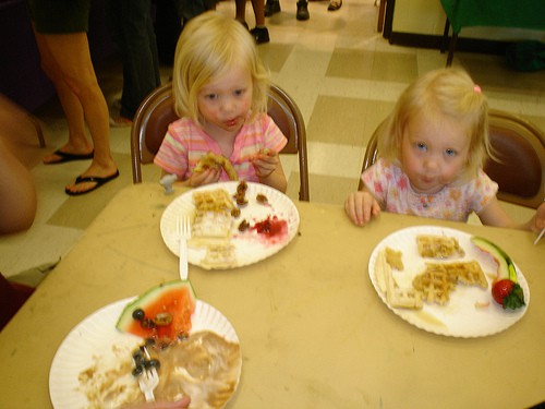 Cutest vegan waffle-eating kids
