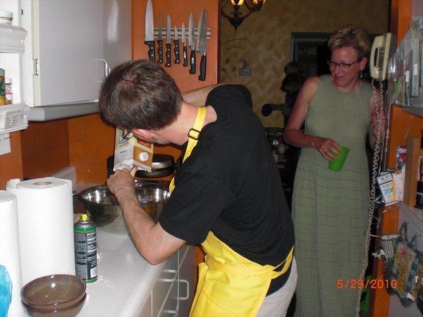 prepping waffle batter