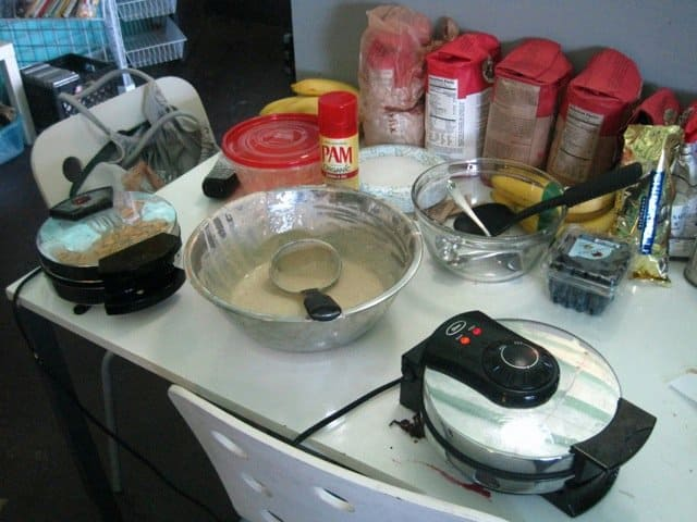 Sweat Records vegan waffle setup