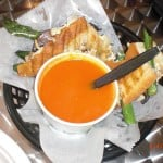 Waffle Frolic vegan grilled cheese with tomato soup