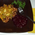 Apple Vegan Waffle Stuffing with cranberry sauce