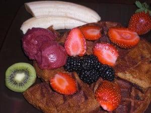 Vegan Textured Rice Waffles, Sorbet, and Fresh Fruit