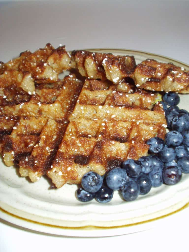 vegan Liege waffles with blueberries