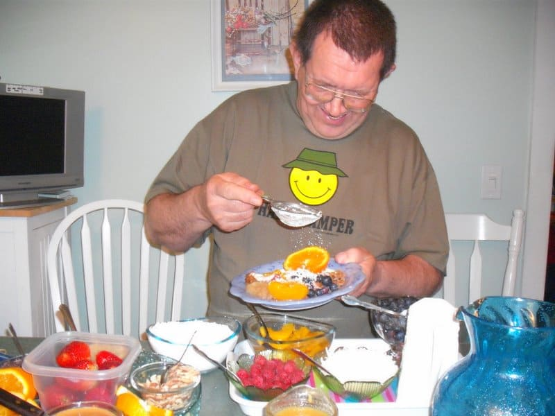 happy camper builds a tasty vegan waffle creation