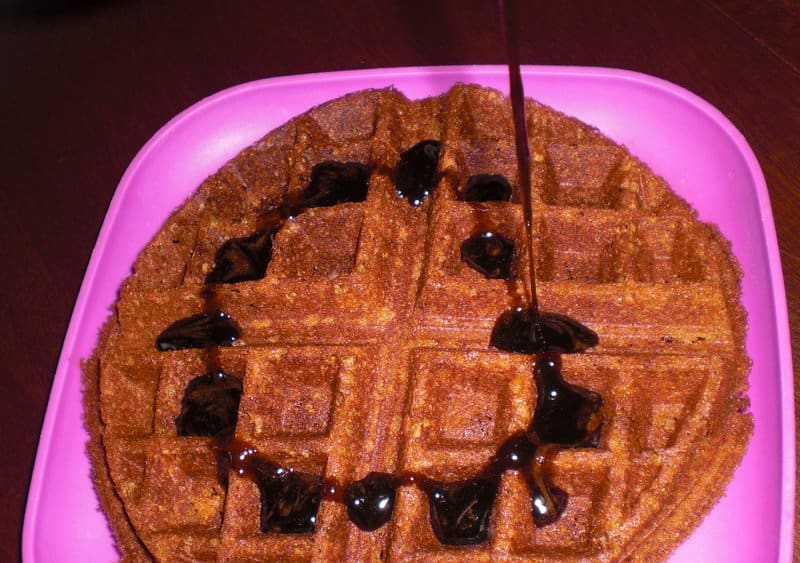 Kicky Syrup on Textured Rice Vegan Waffle