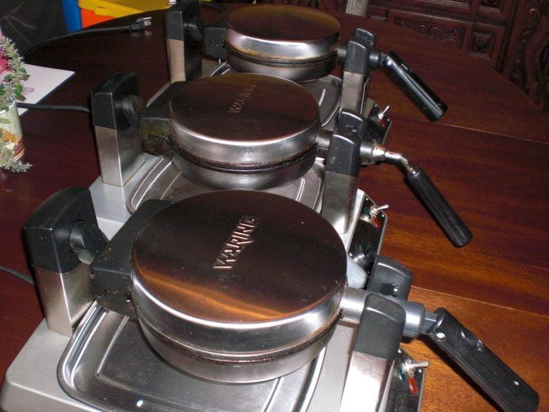 waffle irons ready for baking vegan waffles