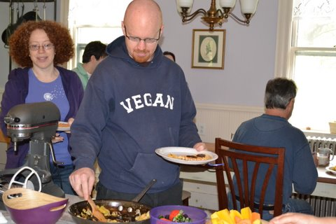 Boston vegan waffle party guests 2