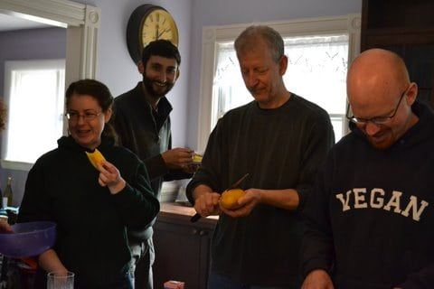 Boston vegan waffle party guests