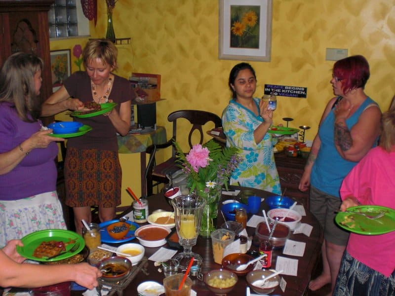 waffle party guests socialize and enjoy the variety of food