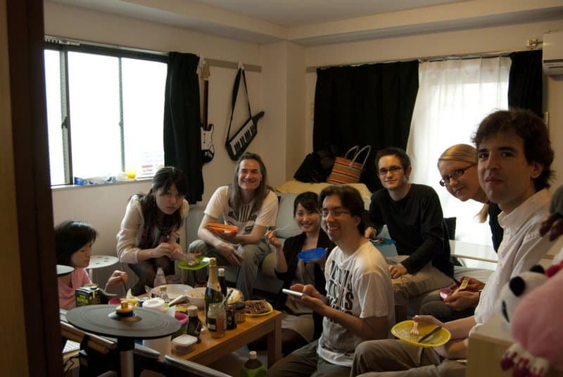 Tokyo vegan waffle party guests