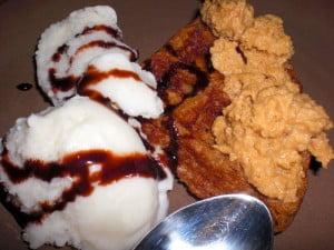 Vegan Waffle & Ice Cream with Peanut Butter Fluff