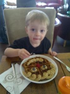 Hey, kid, I'm gonna steal your vegan waffle!