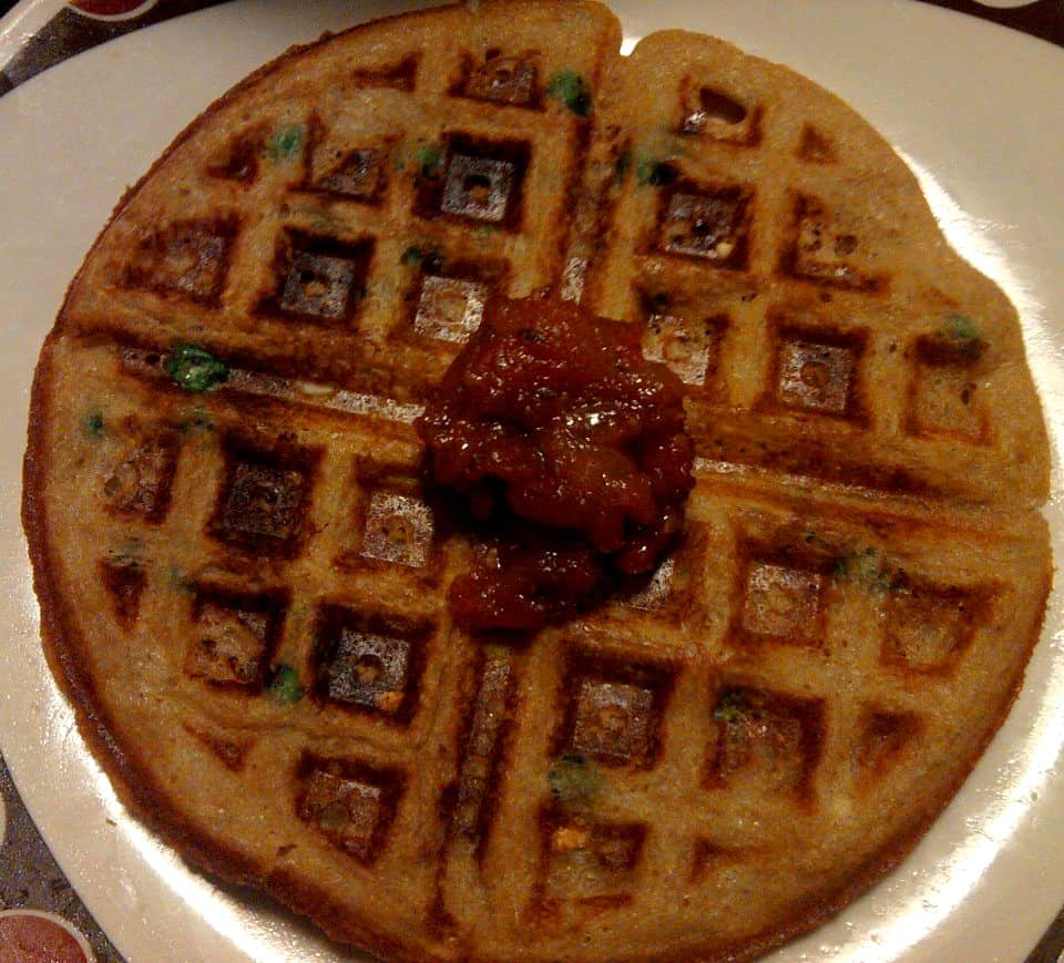 Umami Mama Vegan Waffle with Pizza Sauce