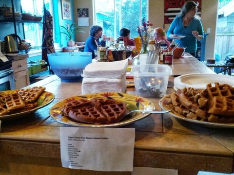 hot vegan waffes await hungry guests