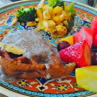 vegan waffles with fresh fruit & tofu scramble 1