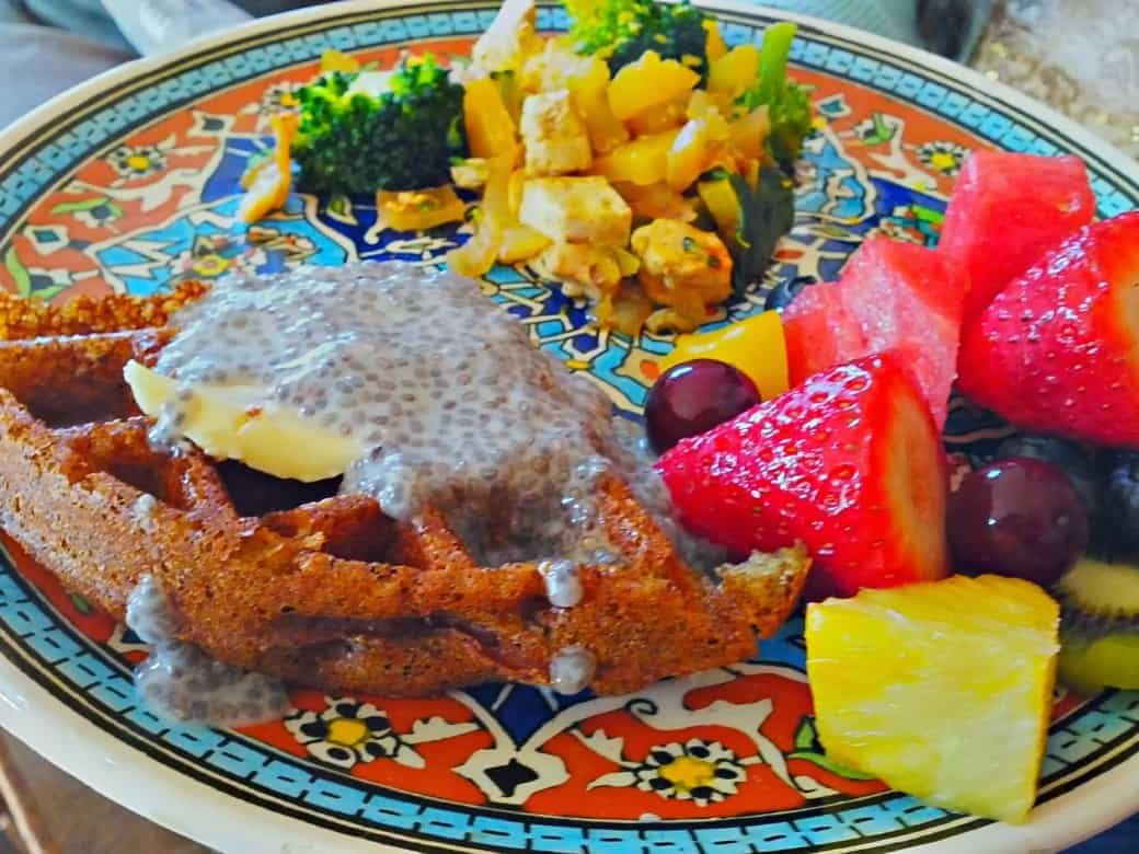 vegan waffles with fresh fruit & tofu scramble 1