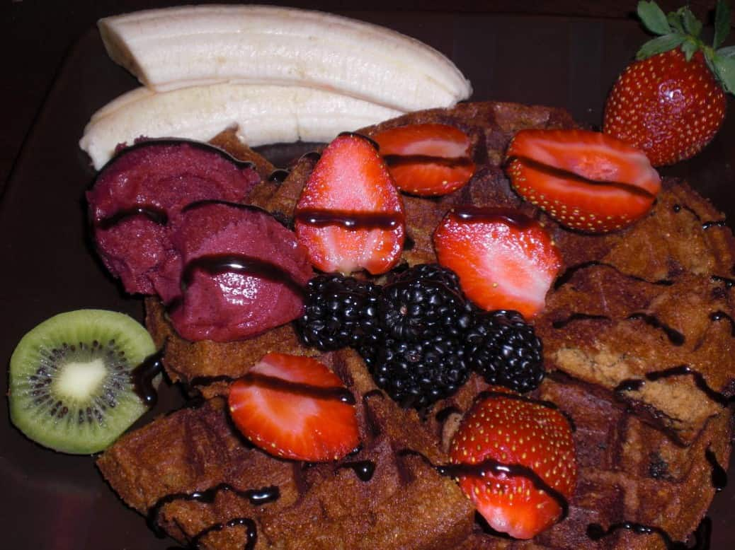 Textured Rice Vegan Gluten-Free Waffles with teff, sorbet,fruit