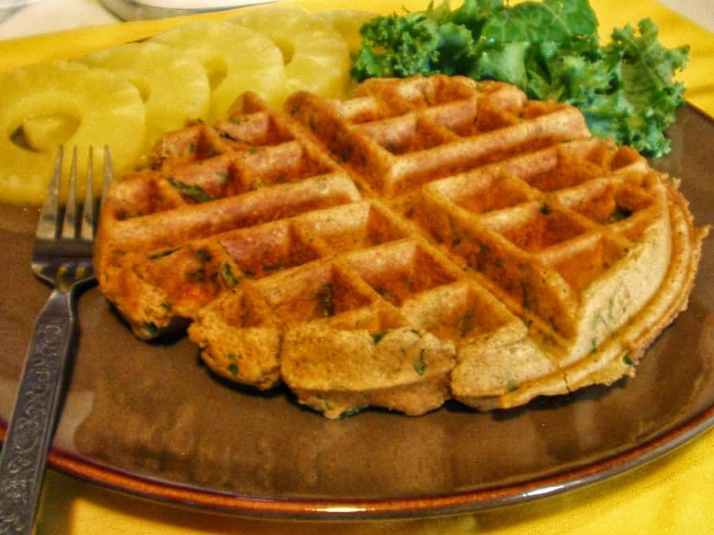 Kale-idoscopic Vegan Waffle with Pineapple