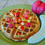 naked vegan waffle with nectarine banana and syrup