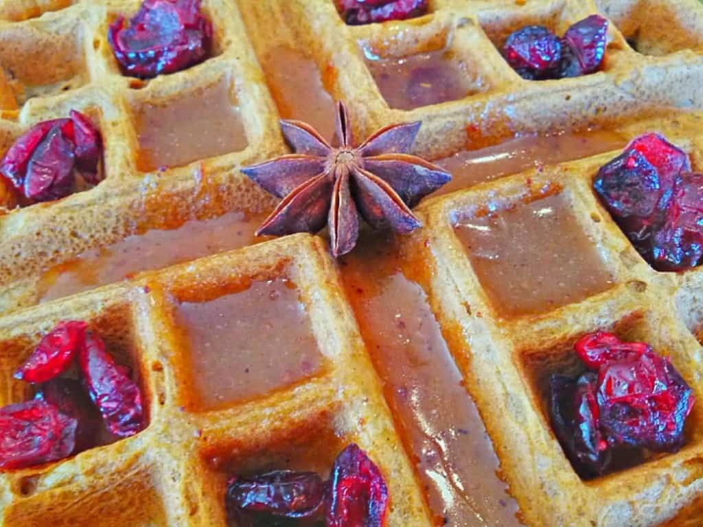 Sweet Star Anise Syrup on Vegan Waffles