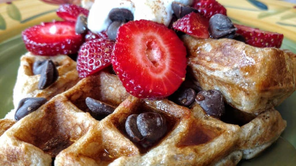 vegan sourdough waffles with strawberries and chocolate chips