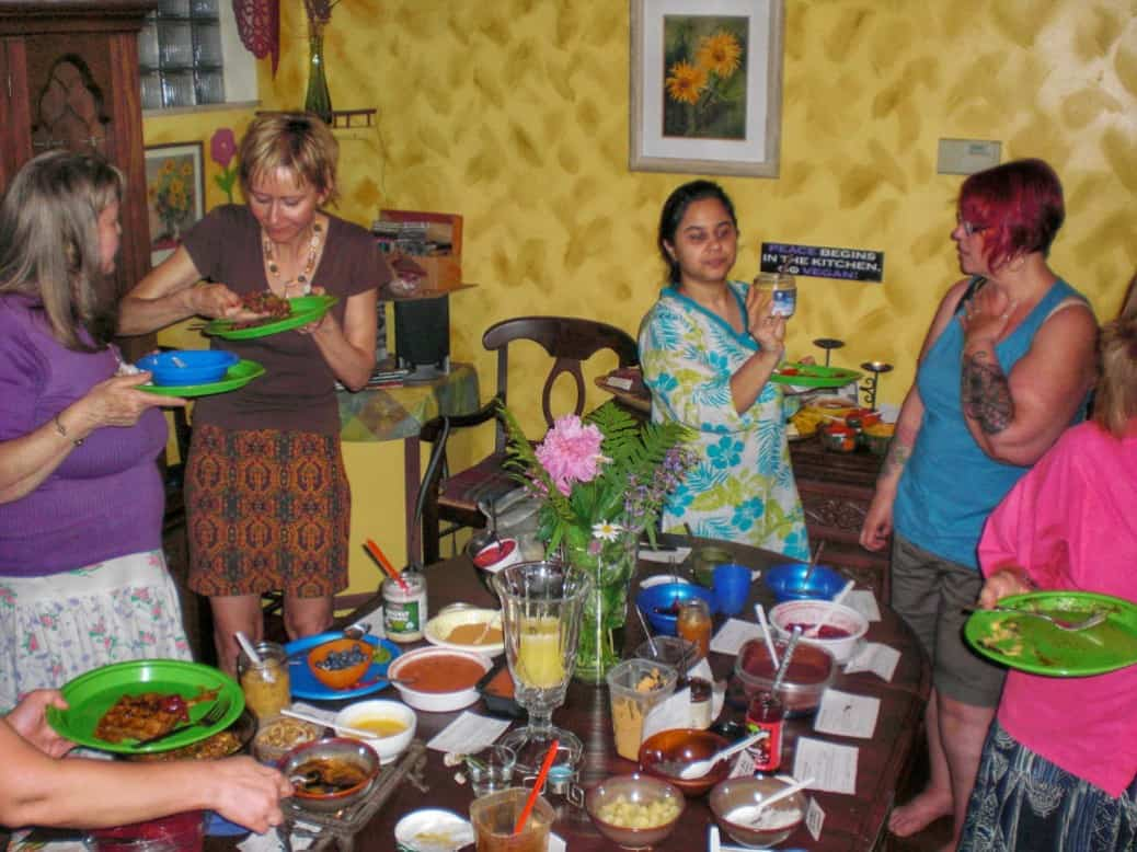Guests enjoy a waffle party