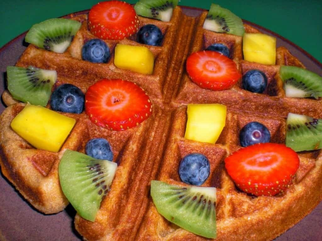 Sweet Yeasted Vegan Waffle with Fruit Rainbow Topping