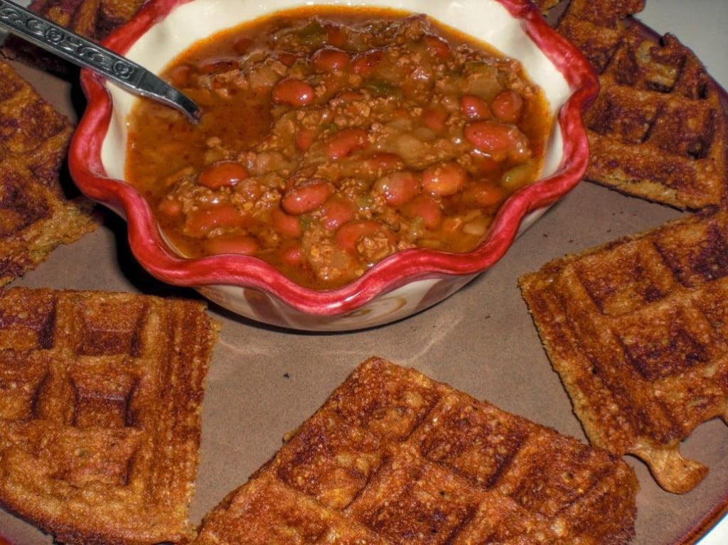 Yeast-Raised Cornmeal Chili Dippin' Vegan Waffles Recipe