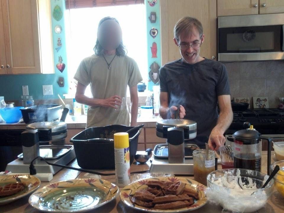 Dave baking vegan waffles