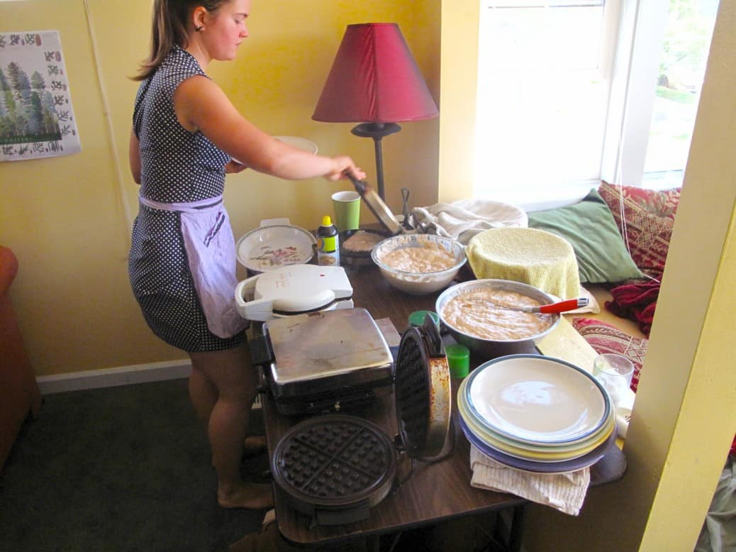 Marisa hosting a Seattle vegan waffle party