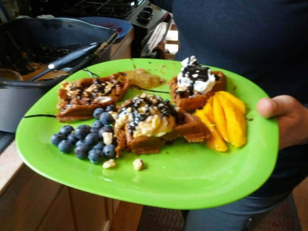 vegan waffle with assorted toppings