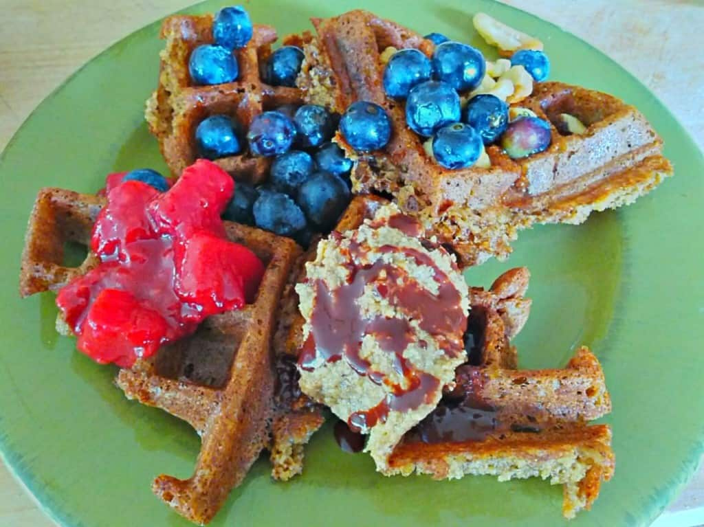 vegan waffle with fruit, chocolate, & nut butter