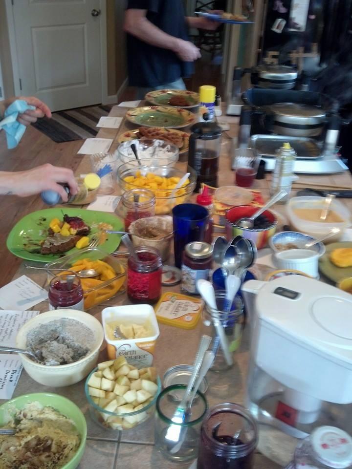 waffle toppings at vegan waffle party 2014