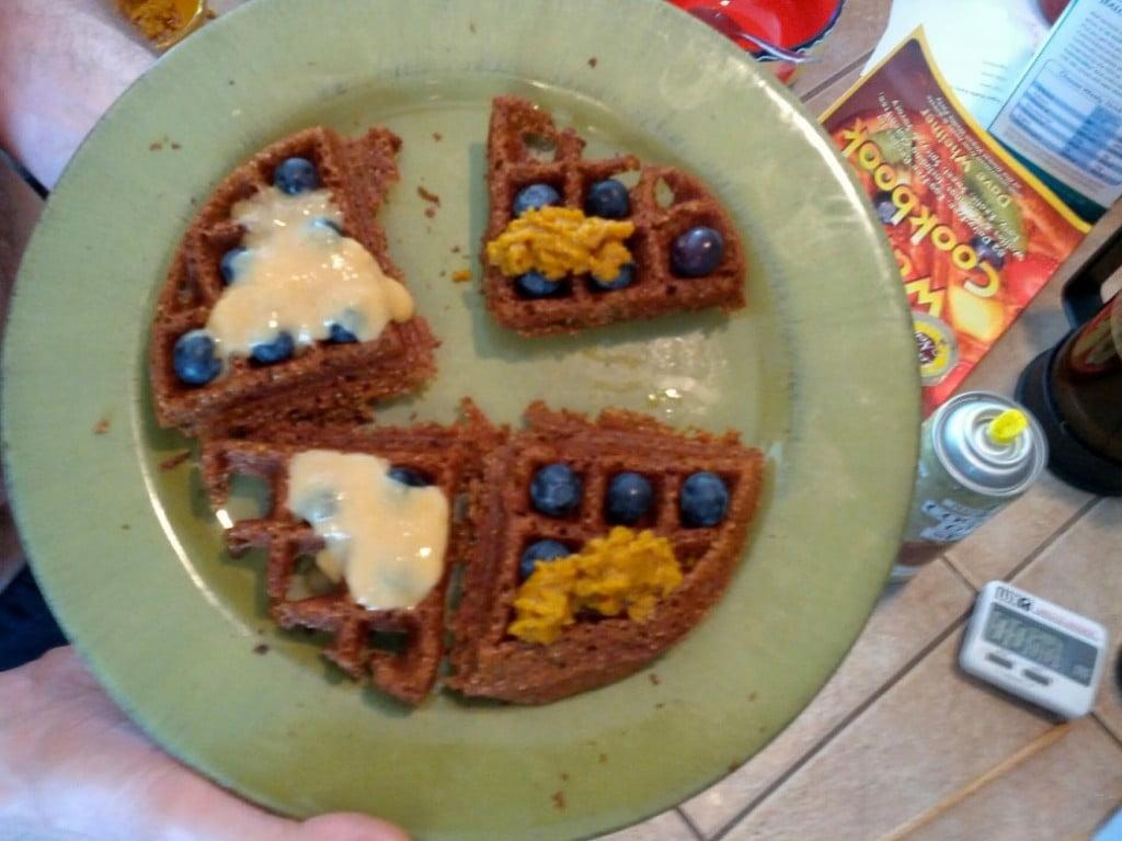 vegan waffle with fresh blueberries