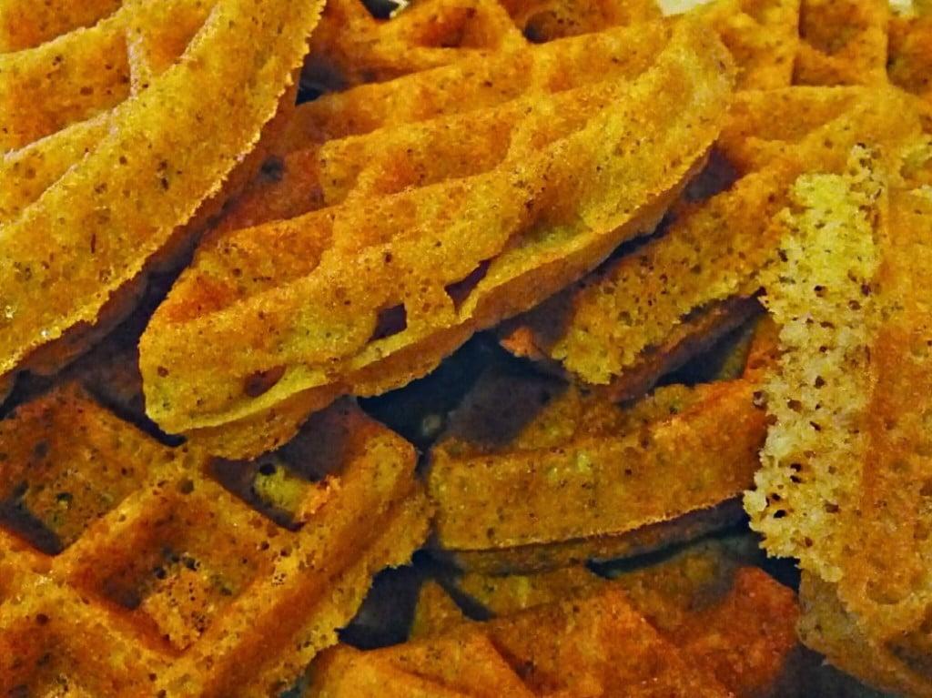 naked gluten-free vegan waffles in a pile