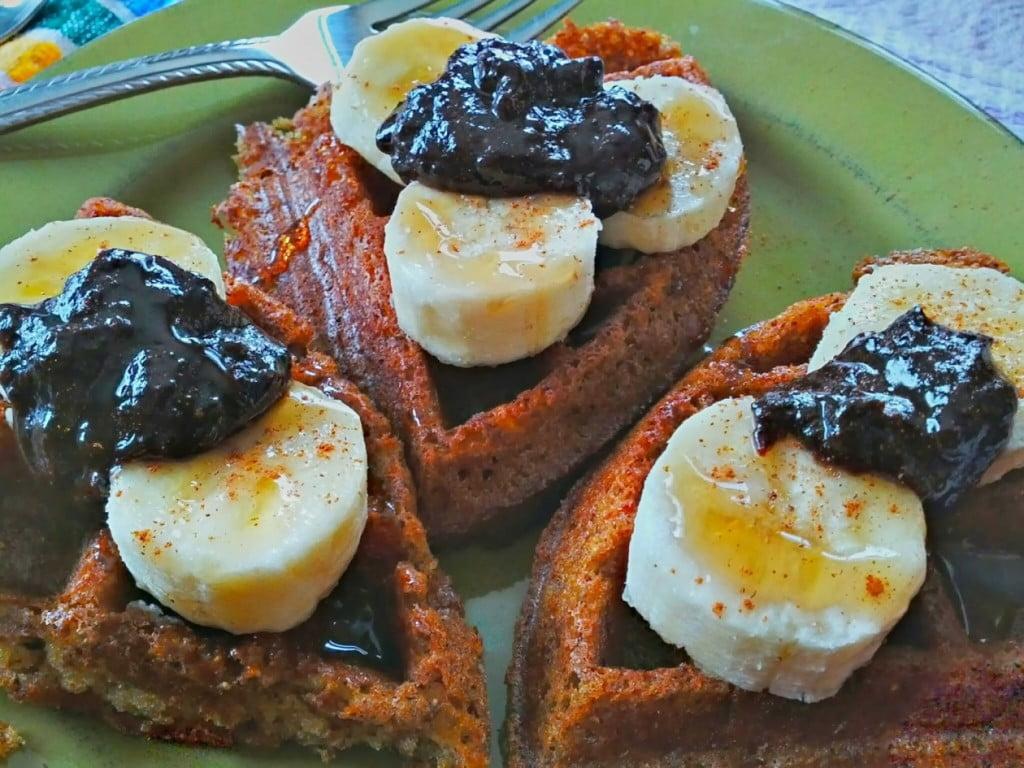 peanut butter carob fudge spread on vegan waffles