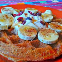48-hour yeasted vegan waffle with coconut cream, bananas, dried cranberries
