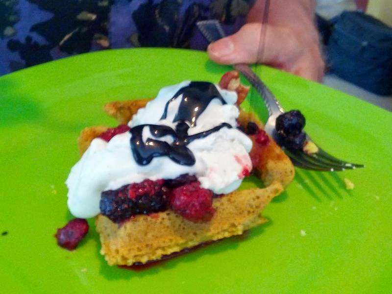 vegan waffles with mixed berries & ice cream