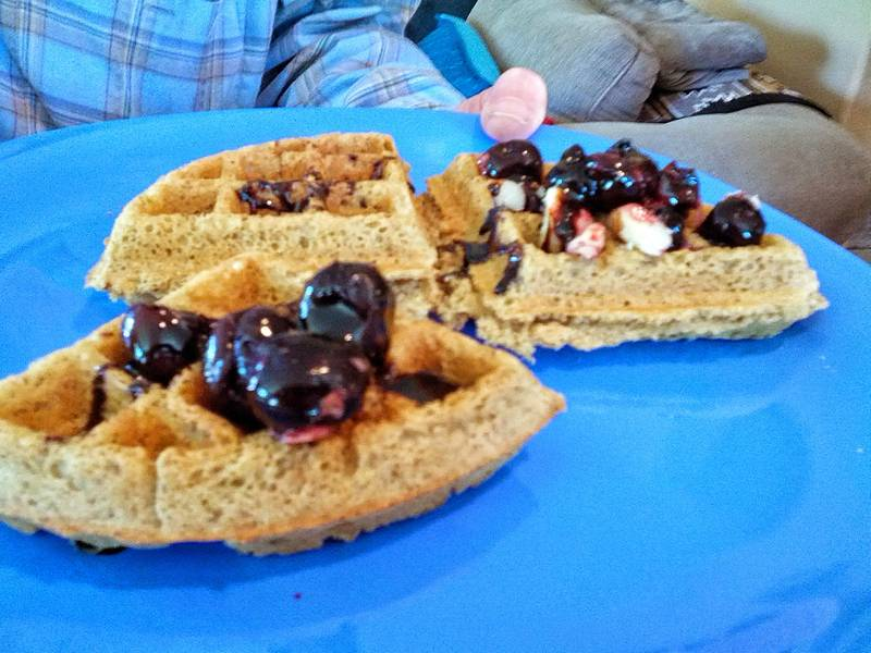 vegan waffles with cherries & nuts