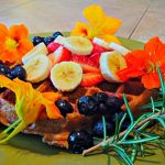 Yeast-Raised Vegan Waffle with Flowers & Blueberries 2