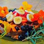 Yeast-Raised Vegan Waffle with Flowers & Blueberries 2