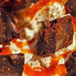 vegan waffle ice cream sundae with chocolate ganache & salted rum caramel